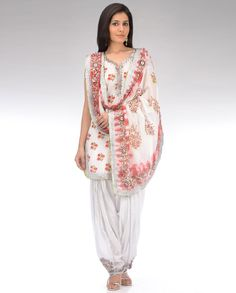 Pearl White Floral Printed Patiala Suit with Shibori Dupatta