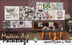 """Annett's Sims 4 Welt: 40 """"Modern Art"""" Paintings - Part 2"""