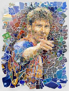 A series of tribute artworks for Lionel Messi, the city and FC Barcelona by Charis Tsevis.  Created following the concept of Trencadís mosaic technique introduced by Antoni Gaudi and other Catalan artists.