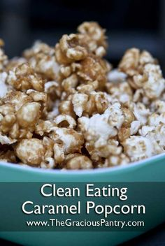 Clean Eating Caramel Popcorn - Oh my goodness, my new favourite snack! This stuff is amazing, just honey and peanut butter sauce over air popped popcorn. Great snack idea, good for Ben's lunches . Popcorn Recipes, Snack Recipes, Cooking Recipes, Dessert Recipes, Clean Eating Recipes, Clean Eating Snacks, Healthy Eating, Healthy Sweets, Healthy Snacks