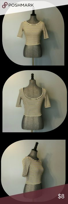 {Forever 21} Striped Crop Top with Low Scoop Back NEW WITH TAGS  Super cute black and white striped crop top.  The scoop back is simply beautiful and the arm length is perfect!  52% Cotton 43% Rayon 5% Spandex Forever 21 Tops Crop Tops
