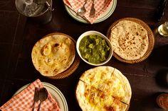 Indian food  - chapati and palak paneer