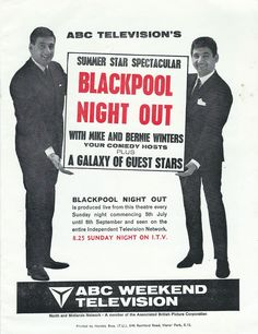 'Blackpool Night Out' from ABC Theatre, Blackpool (now demolished ! When You Were Young, Blackpool, Once Upon A Time, Childhood Memories, Theatre, Night Out, Comedy, Nostalgia, Theater