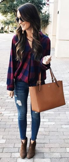 Plaid Shirt + Ripped Jeans + Camel Leather Tote
