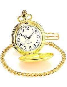 957a21ecb Men's Pocket Watches - Jechin Classic Pocket Watch Gold Hunter Case 14 Chain  Comes in SilkLined