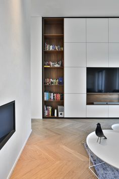 🌟 💖 🌟 💖 Luxury interior design of a river front apartment in Prague. Living Room Wall Units, Ikea Living Room, Living Room Modern, Living Room Interior, Living Room Designs, Kitchen Interior, Tv Unit Furniture, Tv Cabinet Design, Bedroom Cupboard Designs