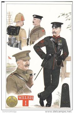 British; The Welsh Regiment illustrated by mike Chappell. Top Left;1st Welsh, S.Africa 1899, Top Centre;1st Welsh in UK 1905. Right;7th(Cyclist) Bn, The Welsh Regiment(Territorial Force) Signals Sergeant, Full Dress c.1910 & Bottom Left 6th Bn, The Welsh Regiment(Territorial Force) Subaltern 1909