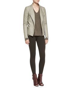 Leather/Cashmere Scuba Jacket, Chevron Double V-Neck Sweater & Scrunch Ankle Jersey Leggings by Vince at Bergdorf Goodman.