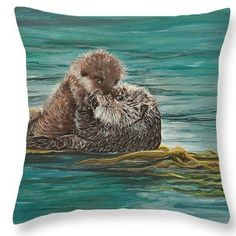 """""""Otter Pup"""", my tribute to Monterey Bay, Ca. where so many of these pups are born every year. Print on throw pillow & 20 x 16  original🌊⛵🐳 #montereybaylocals - posted by Vivian Holabird Fine Art https://www.instagram.com/vivianholabirdfineart - See more of Monterey Bay at http://montereybaylocals.com"""