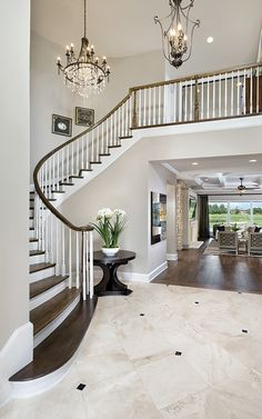 Asheville Model Home Interior Design - traditional - Entry - Tampa - Arthur Rutenberg Homes Home Stairs Design, Foyer Design, Dream Home Design, Dream House Interior, Luxury Homes Dream Houses, Home Interior Design, Arthur Rutenberg Homes, Luxury Staircase, Foyer Flooring