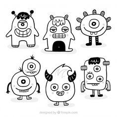 Cute Monsters Drawings, Cartoon Monsters, Art Drawings For Kids, Easy Drawings, Doodle Monster, Monster Drawing, Easy Doodle Art, Doodle Art Drawing, Simple Doodles
