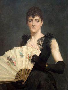 Barbara MacKay - Portrait de Madame Fanny Léontine Gronkowska avec éventail, 1891, peinture à l'huile