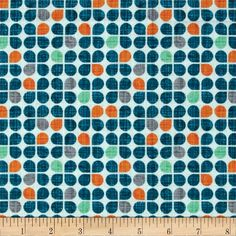 Michael Miller Just My Type Retro Clover Navy from @fabricdotcom  Designed by Patty Young for Michael Miller, this cotton print is perfect for quilting, apparel, crafts, and home décor projects. Colors include cream, navy, orange, grey, and mint.