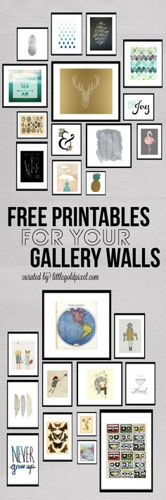 A roundup of fun, trendy and beautiful free printables for gallery walls. From flamingoes to ampersands to pineapples, we've got your hip prints here. #freeprintables #gallerywall