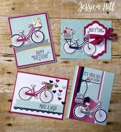 stampin up, bike ride, bike ride bundle, bike, bicycle, bundle, pool party, online class, berry burst, whisper white, smoky slate, night of navy, gold foil, finely woven ribbon, stampin' write markers