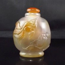 Hand-carved Chinese Natural Agate Snuff Bottle w Fish