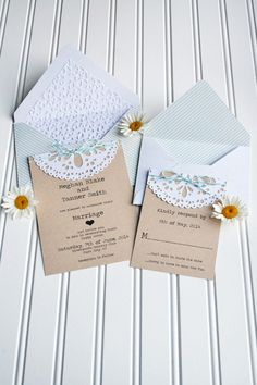 *We R* DIY Doily Wedding Invitation - Scrapbook.com - Love the doily folded over the top of the invitation. Such a simple, pretty, elegant touch.