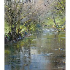 "Rex Preston - ""Reflections in the River Wye, Chee Dale""...I love the way this artist can make his paintings come alive when painting water..."