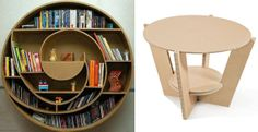 Cardboard special furniture: bookshelf and coffee table