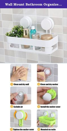 Wall Mount Bathroom Organizer Collection Storage Suction Cup Storage Shelves Rack (white). Create a neat and organized shower with the Suction Cup Bathroom Shelf. Note:This Suction Shelf is not suitable for heavy or fragile items.It is is ideal for holding your shampoo, conditioner, body wash, bubble bath and more.