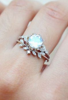 Diamond & Moonstone Ring Set | MichelliaDesigns on Etsy - Purchase here https://www.etsy.com/listing/271462090/vintage-moonstone-floral-engagement-ring?ref=shop_home_active_1
