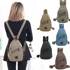 66d8d499c4 Canvas Convertible Mini Small Sling Backpack Rucksack Chest Pack Purse Bag  Cute