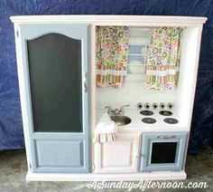 Play kitchen from dresser/entertainment center