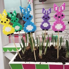 Easter bunnies hama perler beads by Hama Beads Design, Diy Perler Beads, Hama Beads Patterns, Perler Bead Art, Beading Patterns, Bead Crafts, Diy And Crafts, Iron Beads, Melting Beads