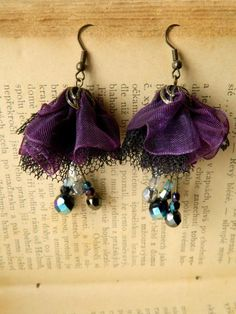 Country beyond the arc: Night Flower - earrings fabric - Fabric earrings