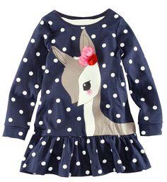 2016 enfants fille de Deer Polka Dots belle chemise robe enfants enfants à manches longues t - shirt décontracté avec fleur bébé jolies robes