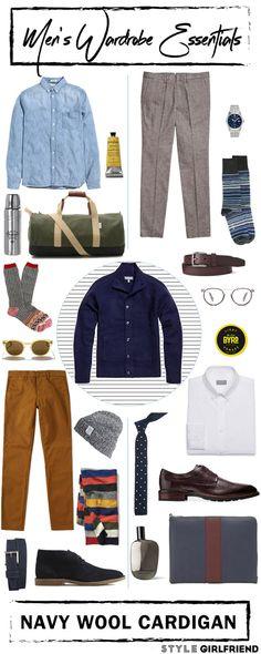 Style Girlfriend | Men's Wardrobe Essential: Navy Wool Cardigan