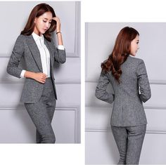 Women's Pant and Blazer Suit Simple Long Slim for Business – omymarts Business Outfits, Business Attire, Office Outfits, Casual Outfits, Work Outfits, Young Work Outfit, Pantsuits For Women, Pants For Women, Clothes For Women