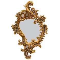French Rocaille Baroque Gilt Ornate Resin Mirror,25'' X 41''H. #Unbranded #baroque