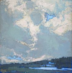 Thomas Paquette, Towering Clouds, Cloud Peak Wilderness 6 x 6 inches, oil on linen