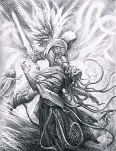 """Tyrael"" The Archangel Of Justice, battling Tal-Rasha, from the ""Diablo"" series by Blizzard Entertainment"