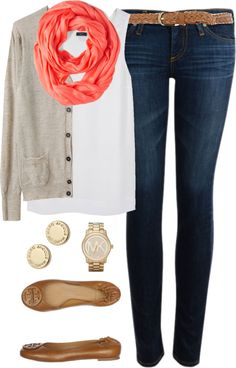 Cardigan by classically-preppy featuring a brown v neck cardigan ❤ liked on PolyvoreÉtoile Isabel Marant brown v neck cardigan / Joseph top / AG Adriano Goldschmied jeans, $145 / Tory Burch brown flat shoes / Michael Kors bracelet / Marc by Marc Jacobs earrings, $65 / Sheer shawl / Dorothy Perkins skinny braided belt