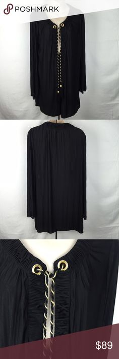"""Diane Von Furstenberg low cut tassel/rope Dress S This is a Diane Von Furstenberg v-neck low cut dress. It is long sleeve black polymide/elastane blend sheer dress. Size small but will fit a medium. Has black and gold rope tassels around the neck. Bust 44"""" length 32'. Gently worn. Gorgeous dress. Diane von Furstenberg Dresses Long Sleeve"""