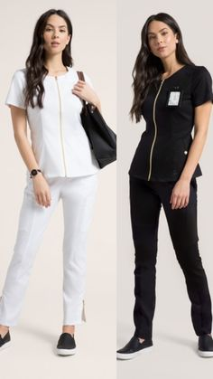 The Jaanuu Biker Tunic Top in White and Black. Which do you prefer? Spa Uniform, Scrubs Uniform, Salon Uniform, Stylish Scrubs, Scrubs Outfit, Black Scrubs, Medical Scrubs, Nursing Clothes, Fashion Looks