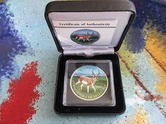 2013 1 oz Canadian Antelope Wildlife Series.9999 Fine Silver Coin Full Color COA.