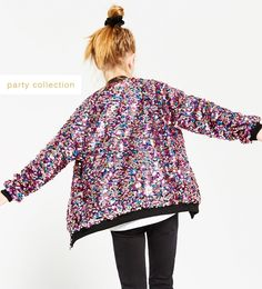 61cedfc3eeb Image 1 of MULTICOLOURED SEQUINNED BOMBER JACKET from Zara