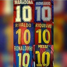 Los grandes 10 en la historia de fútbol... pero pienso que aún así Messi es el mejor jajajaja(aunque Rivaldo tiene una lugar especial en mi corazón)