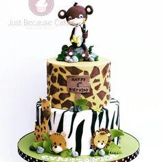 Jungle Life 1st Birthday Cake #monkeycaketopper #zebracake #junglecake #giraffecake #firstbirthdaycake #animalcake Giraffe Cakes, Jungle Life, Yummy Cakes, How To Make Cake, Cake Toppers, Birthday Cake, Place Card Holders, Christmas Ornaments, Holiday Decor