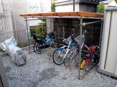 3人娘(+ハリネズミ1匹?)と一緒にキャンプへ行こう!!:自作 - 自転車置き場を単管で作ってみた -