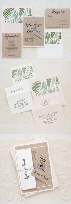 Romantic garden inspired invites with lovely script fonts, hand crafted leafy envelope liners, a blush metallic guest envelope and rustic chic taupe paper. Each invite set is hand assembled and then bundled together with a soft gray baker twine and personalized tag.