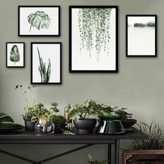 $5~$14Nordic style Art Print Framed Canvas Painting Art Green Leaves Series Painting Canvas Print Wall Art Home Decor Decoration
