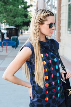 casual french #braid // also is that a moon phase shirt? that's cool. the glasses pull this whole look together. love it. // #braids