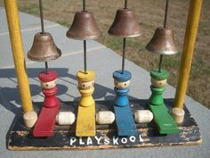 Vintage Wooden Playskool Musical Toy with People and Bells
