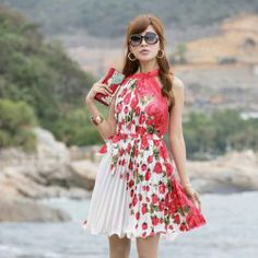 $9.11 Gamiss® New Arrival Flower Printed Ruffles Hem Keyhole Neckline Sleeveless Dress For Women