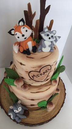 Baby shower ideas for boys themes woodland animals forest friends 17 – www. Baby Shower Cakes For Boys, Boy Baby Shower Themes, Baby Shower Cupcakes, Woodsy Baby Showers, Forest Baby Showers, Baby First Cake, Cake Baby, Gateau Baby Shower Garcon, Woodland Theme Cake