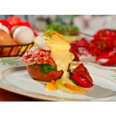 #Lobster eggs #benedict at Gaylord Palms Resort with poached tomato garnish.